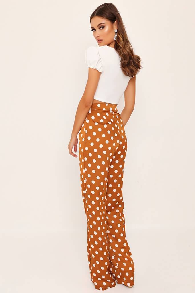 Mustard Polka Dot Print High Waisted Wide Leg Trousers view 5
