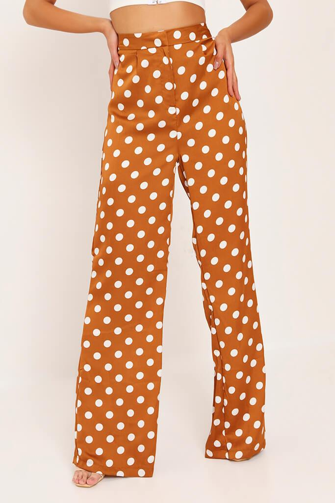 Mustard Polka Dot Print High Waisted Wide Leg Trousers view 2