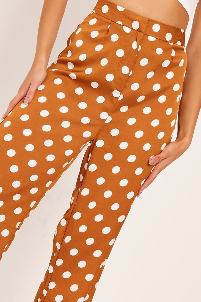 Mustard Polka Dot Print High Waisted Wide Leg Trousers view 4
