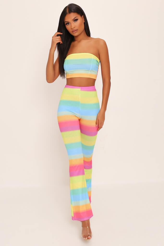 Multi Rainbow Flare Trousers view main view
