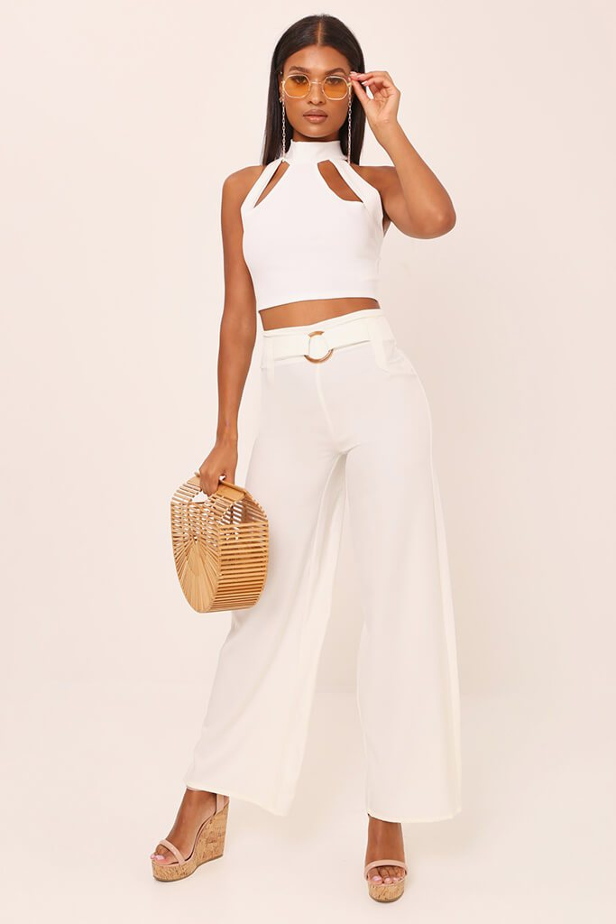 White Tailored O Ring Wide Leg Trousers