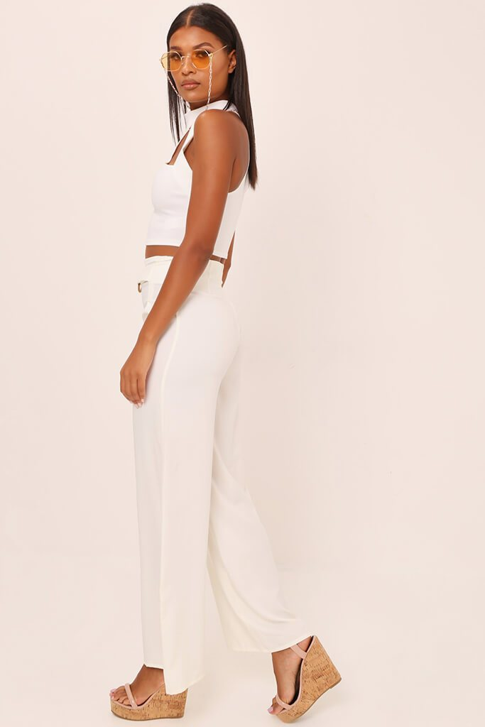 White Tailored O Ring Wide Leg Trousers view 3