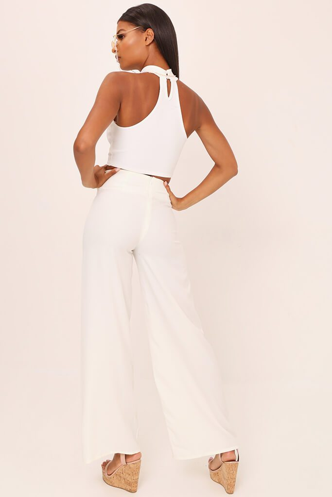 White Tailored O Ring Wide Leg Trousers view 5