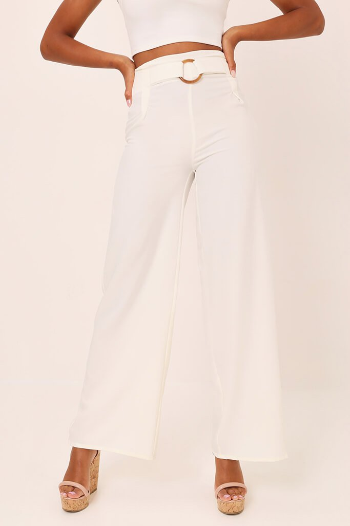 White Tailored O Ring Wide Leg Trousers view 2