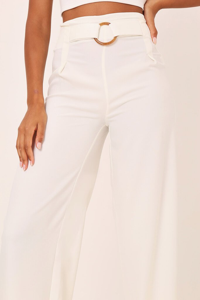 White Tailored O Ring Wide Leg Trousers view 4