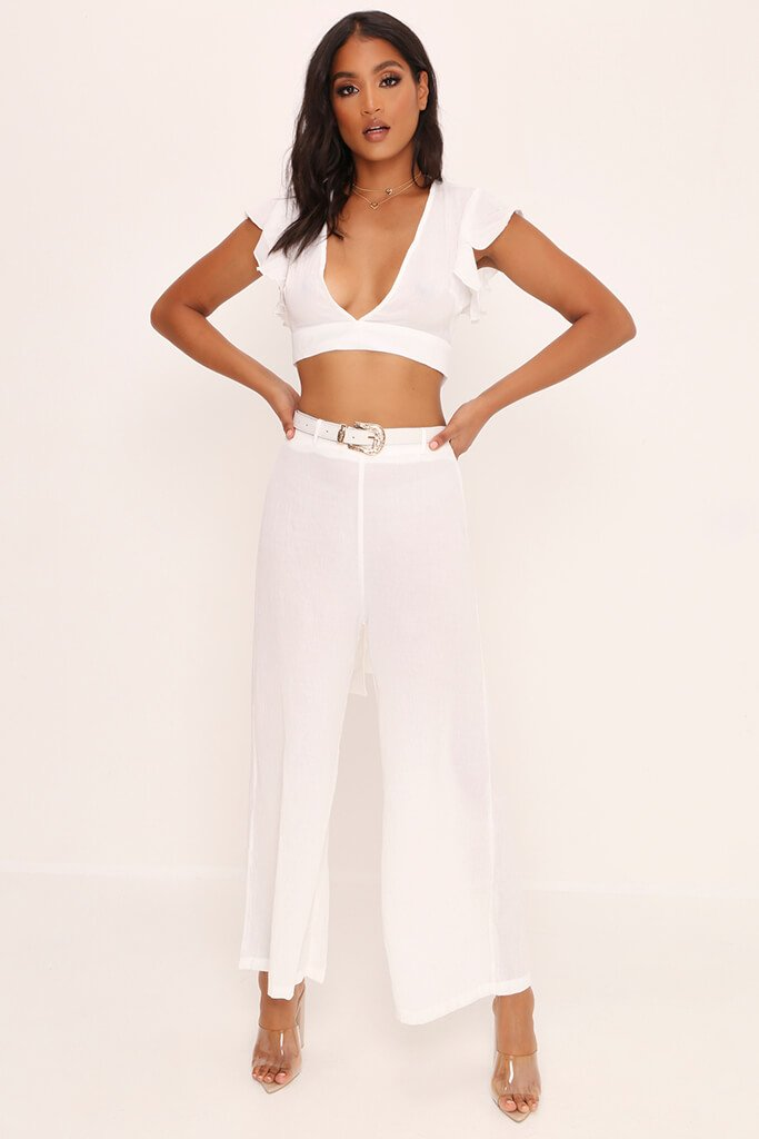 White Crepe Flare Trousers