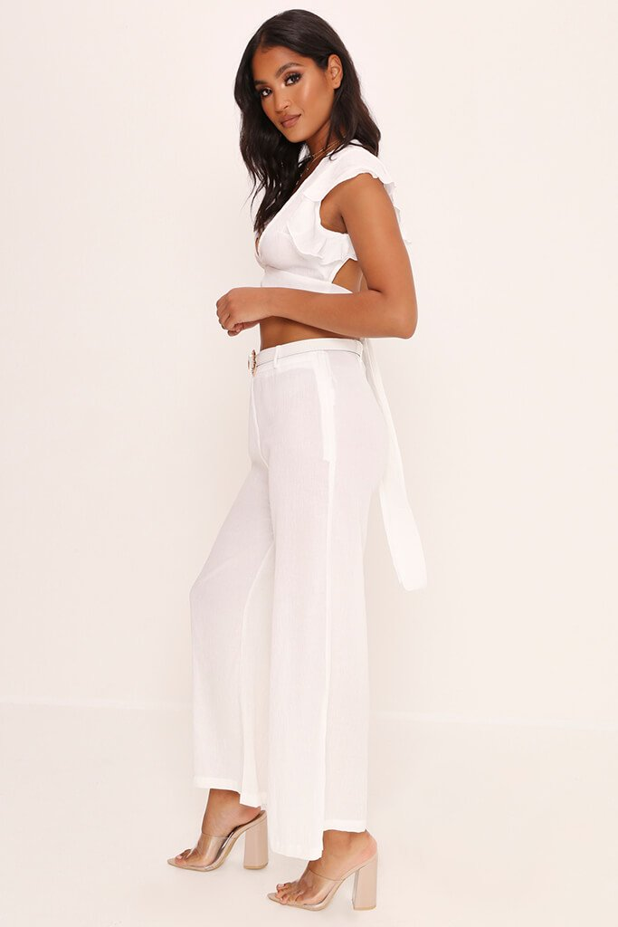 White Crepe Flare Trousers view 3
