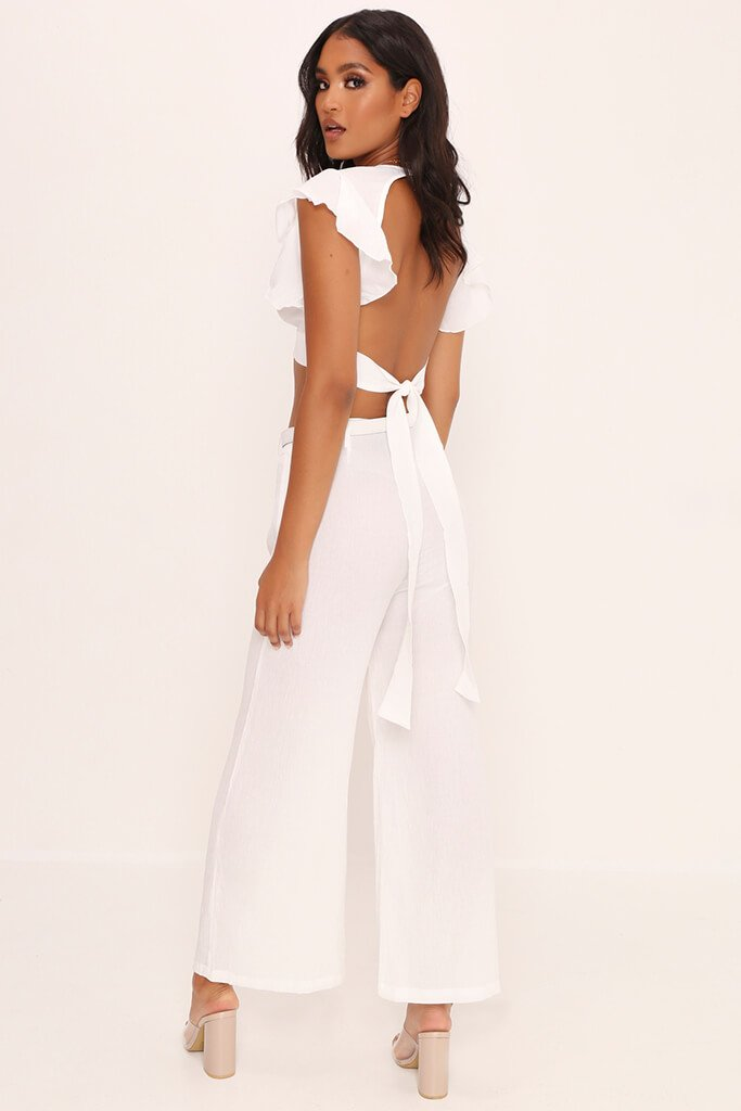 White Crepe Flare Trousers view 5