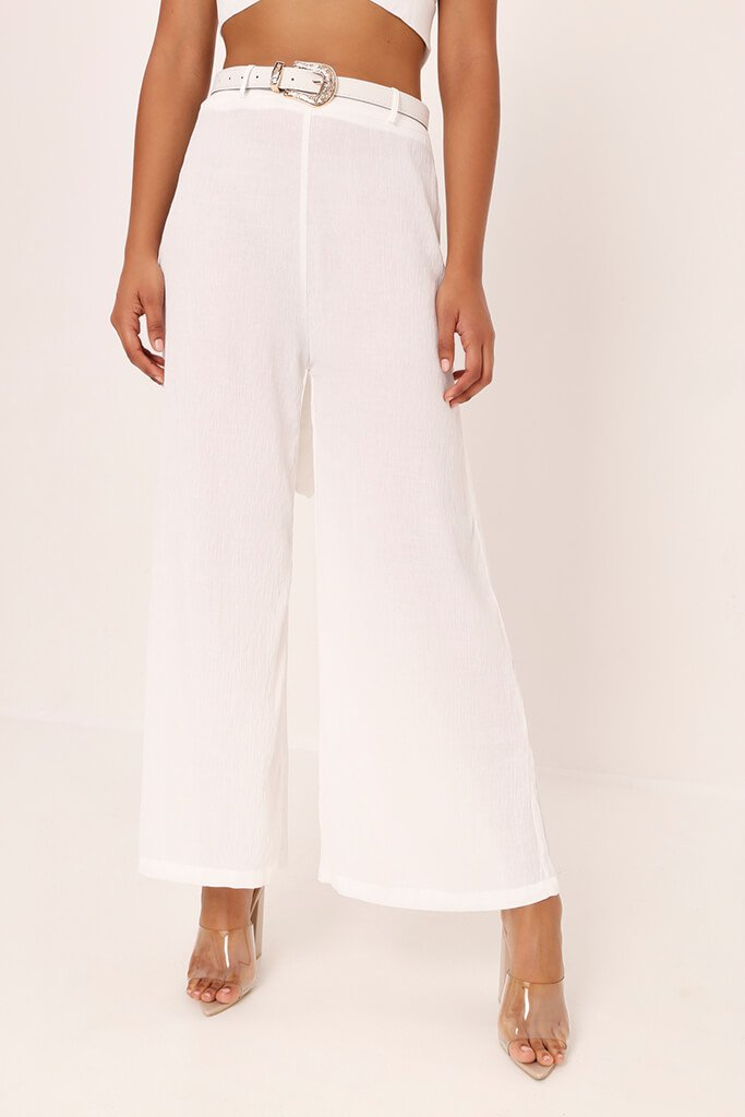 White Crepe Flare Trousers view 2