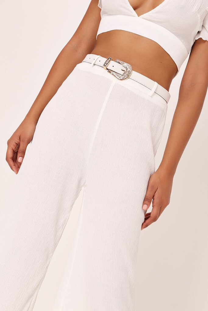 White Crepe Flare Trousers view 4