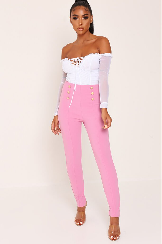 Pink Button Detail Trousers