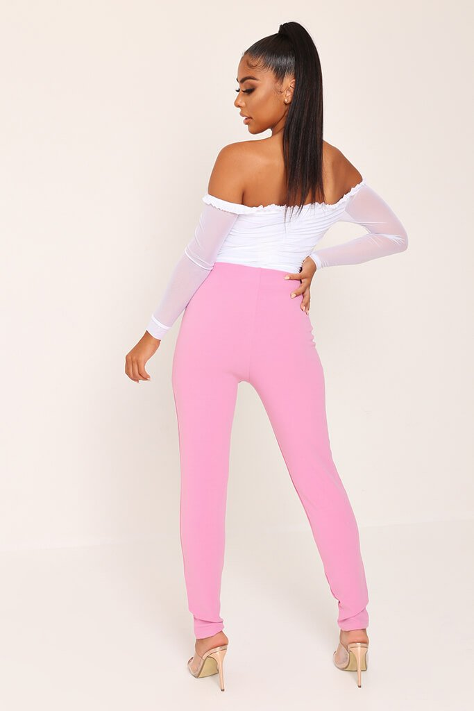 Pink Button Detail Trousers view 5
