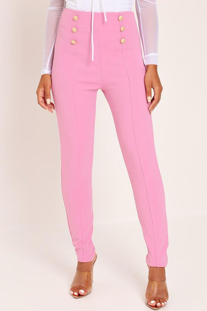 Pink Button Detail Trousers view 2