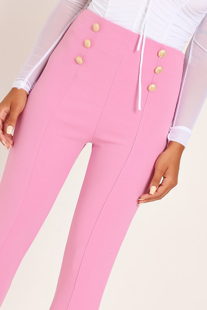 Pink Button Detail Trousers view 4