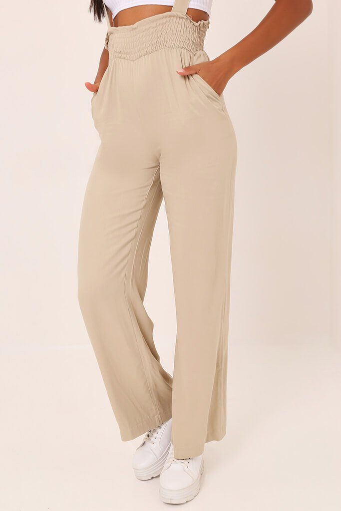 Stone Shirred High Waist Trousers view 2
