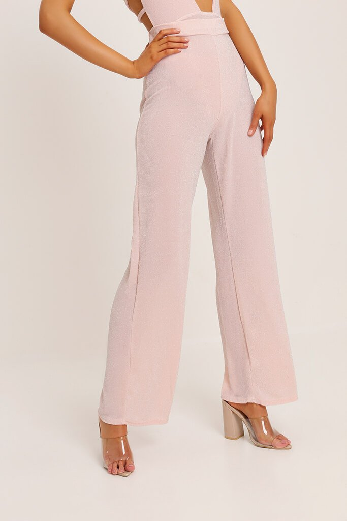 Stone Lurex Wide Leg Trousers view 2