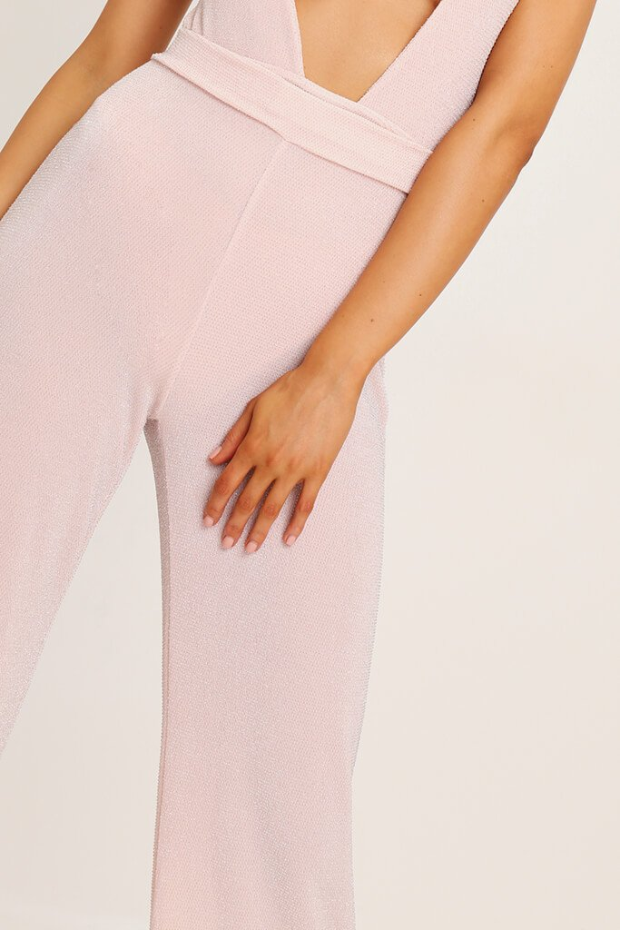 Stone Lurex Wide Leg Trousers view 4