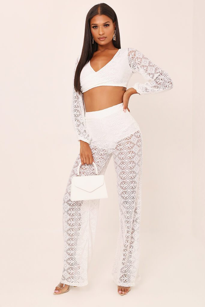 White Lace Crochet High Waisted Flared Trousers