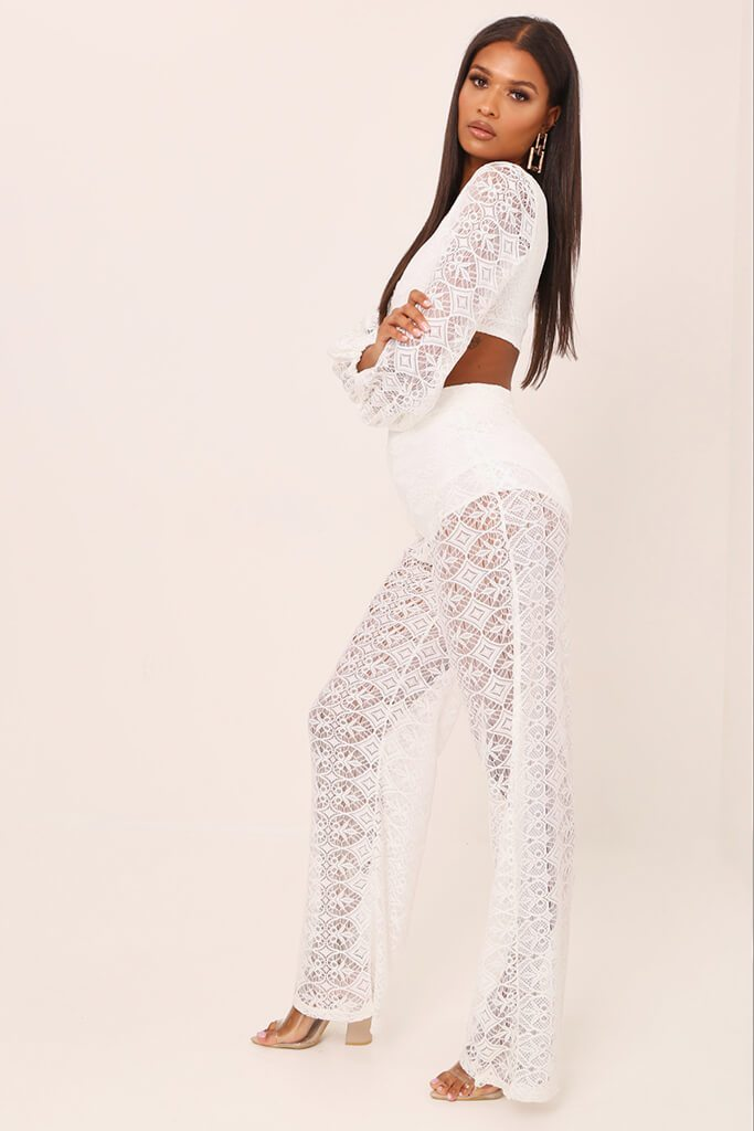 White Lace Crochet High Waisted Flared Trousers view 3