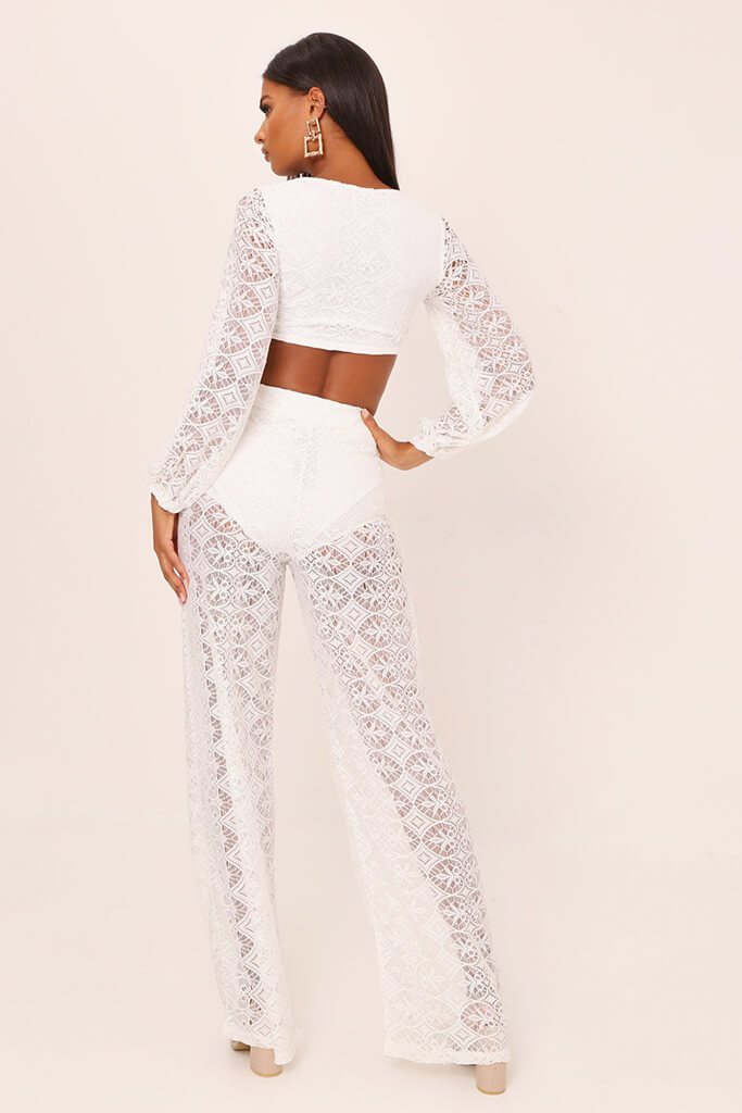 White Lace Crochet High Waisted Flared Trousers view 5