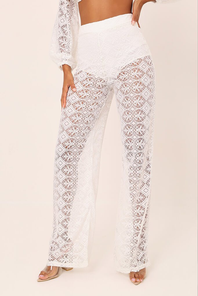 White Lace Crochet High Waisted Flared Trousers view 2
