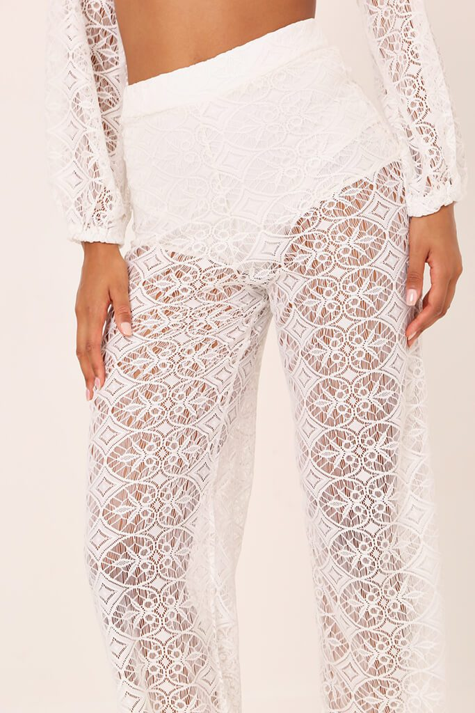 White Lace Crochet High Waisted Flared Trousers view 4