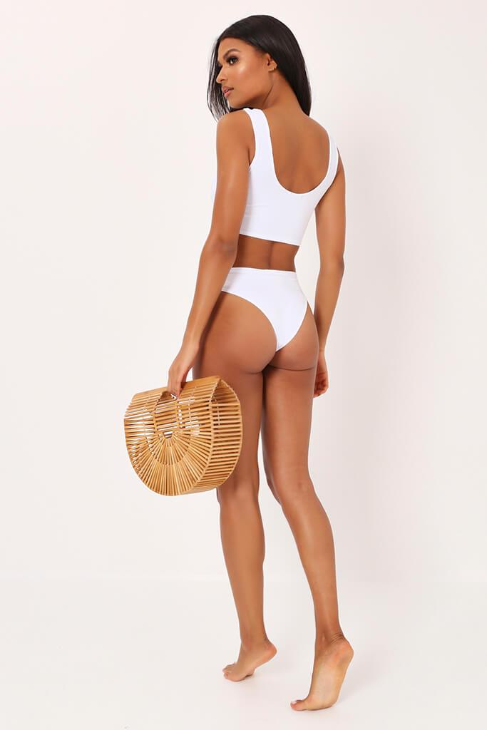 White Ribbed Bikini Top With Zip view 2
