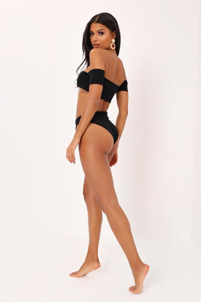 Black Bardot Bikini Top With Capped Sleeves view 5
