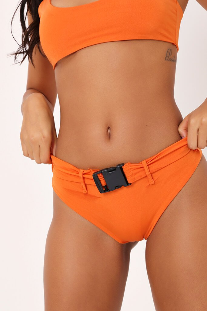 Orange Buckle Detail Bikini Bottoms view 4