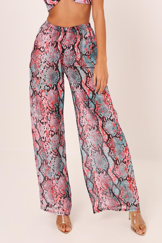 Pink / Turquoise With Snake Palazzo Trousers view 2