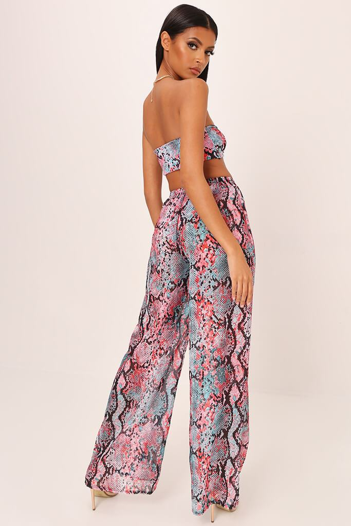 Pink / Turquoise With Snake Palazzo Trousers view 4