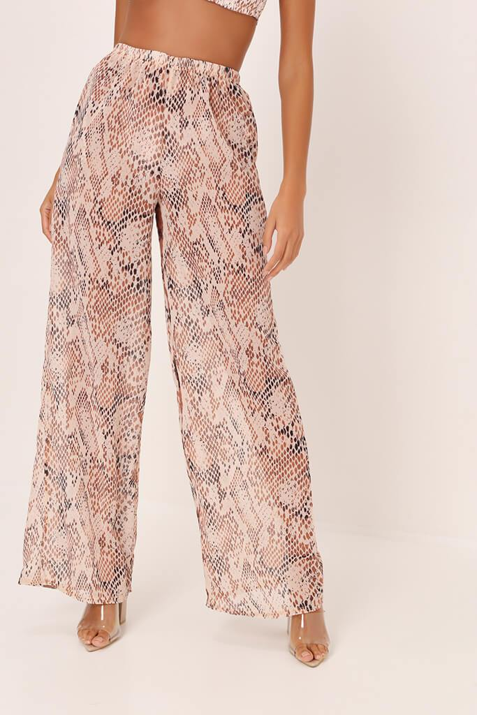 Beige Snake Print Wide Leg Trousers view 2