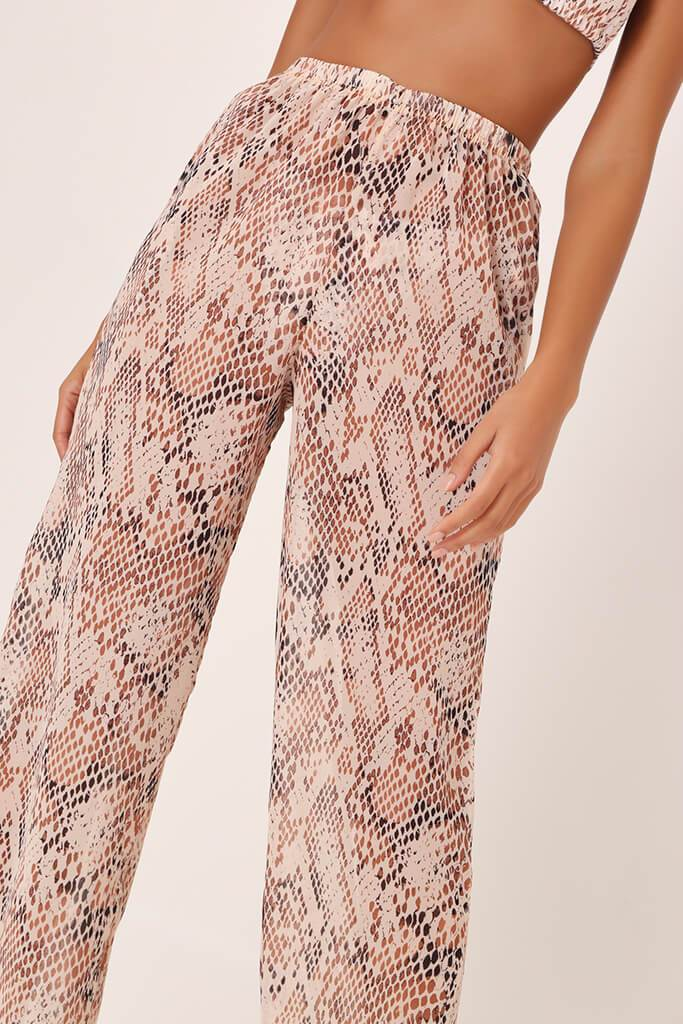 Beige Snake Print Wide Leg Trousers view 4