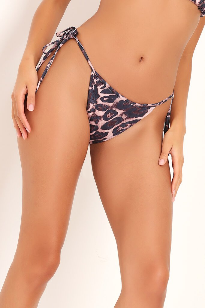 Blush Leopard Printtie Side Bikini Bottoms view 4