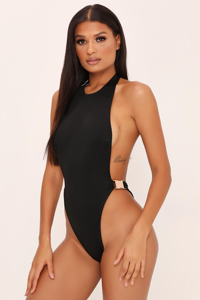 Black High Neck Swimsuit With Buckle Detail