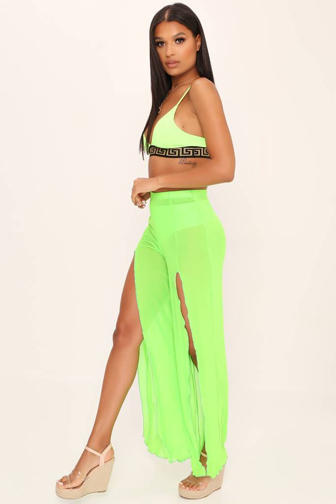 Lime Green Front Split Mesh Trousers view 3