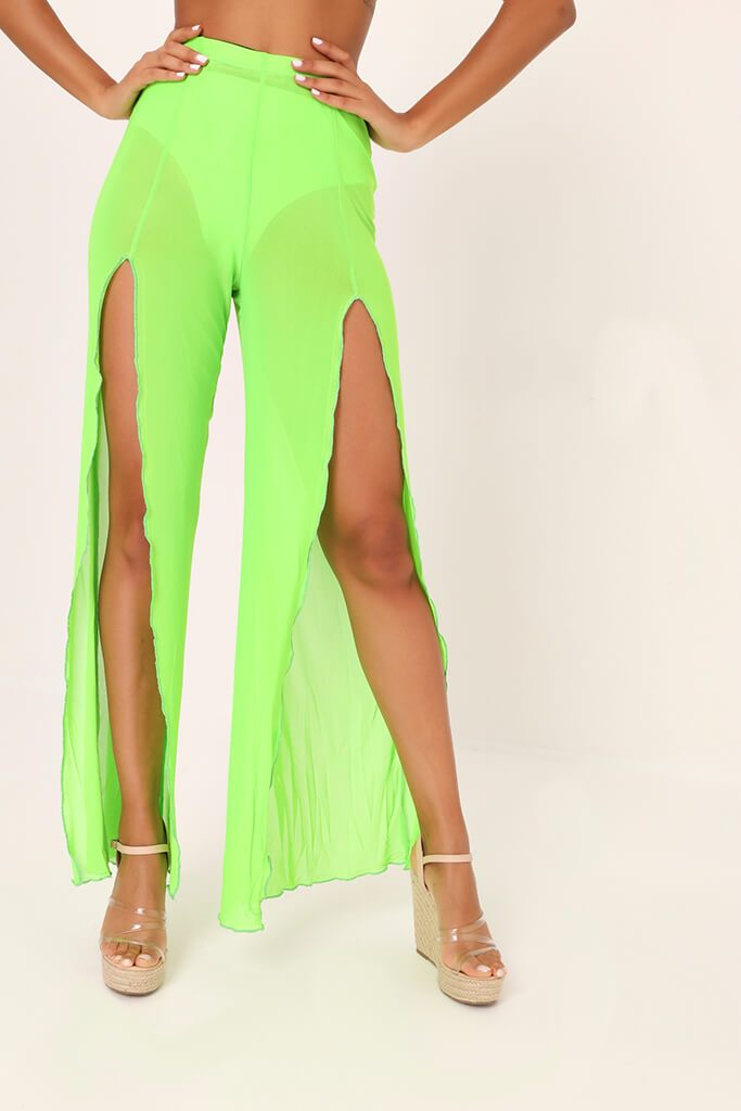 Lime Green Front Split Mesh Trousers view 2