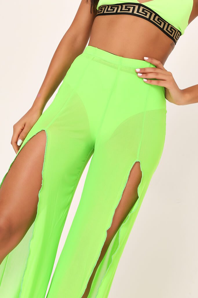 Lime Green Front Split Mesh Trousers view 4