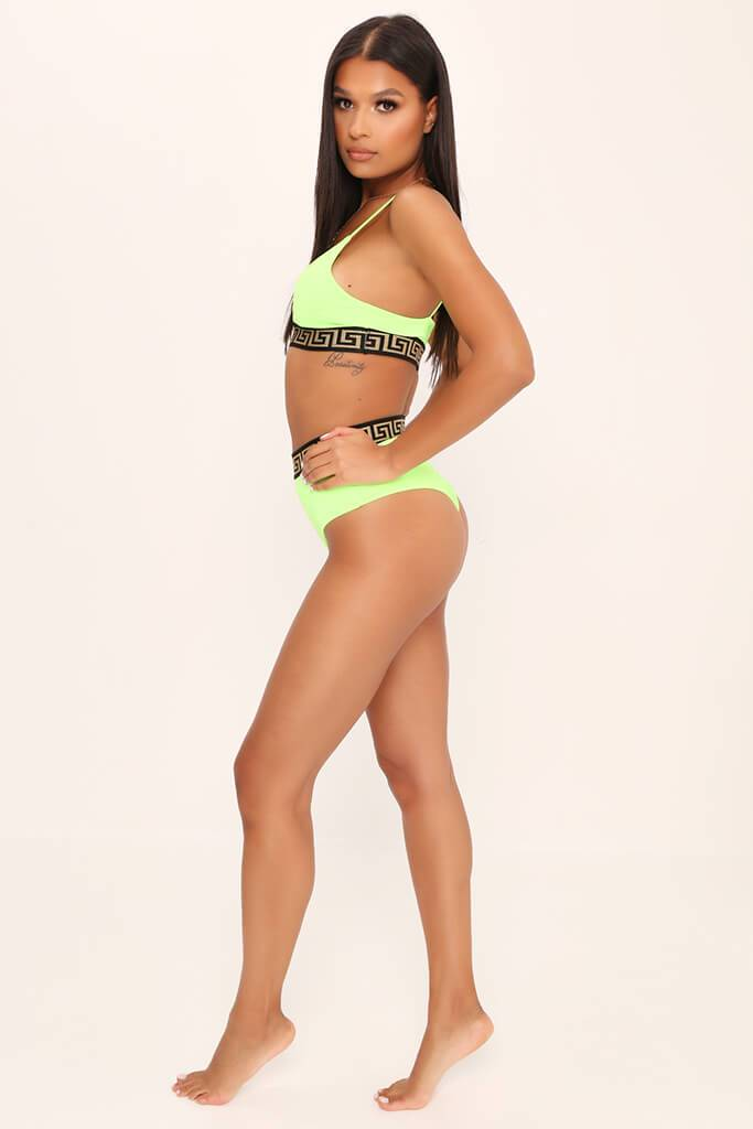 Lime Green Strappy Triangle Top With Aztec Trim view 3