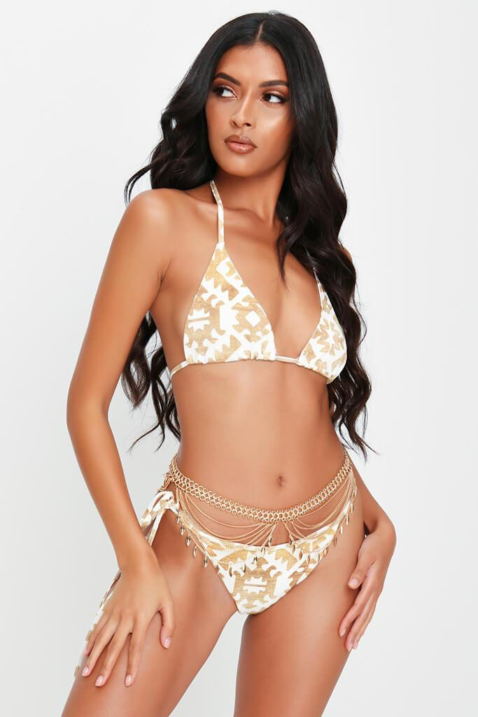 Cream And Gold Tie Side Bikini Bottoms view main view