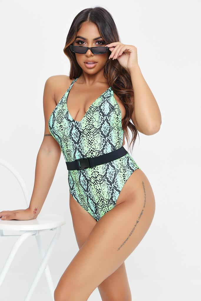 Green Snake Open Back Belted Swimsuit