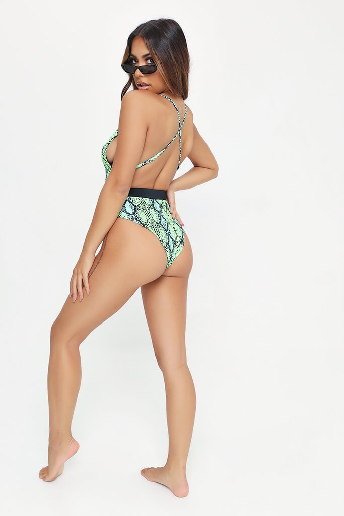 Green Snake Open Back Belted Swimsuit view 5