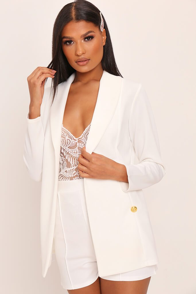 White Double Button Blazer