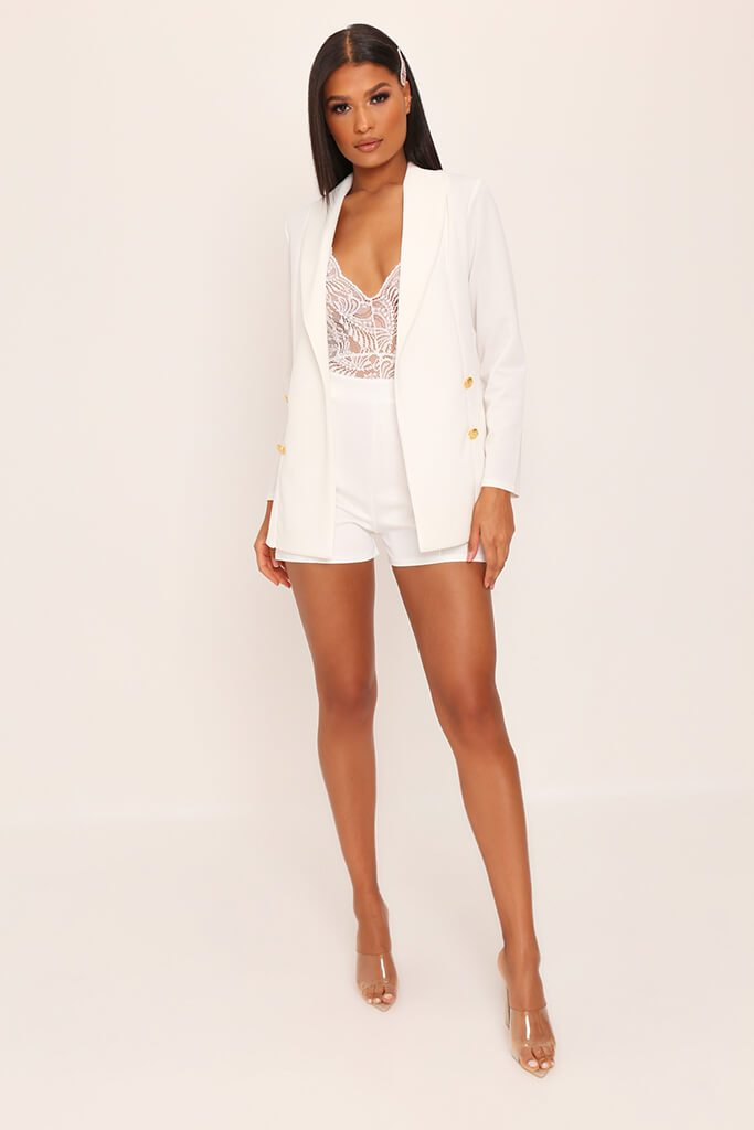 White Double Button Blazer view 2