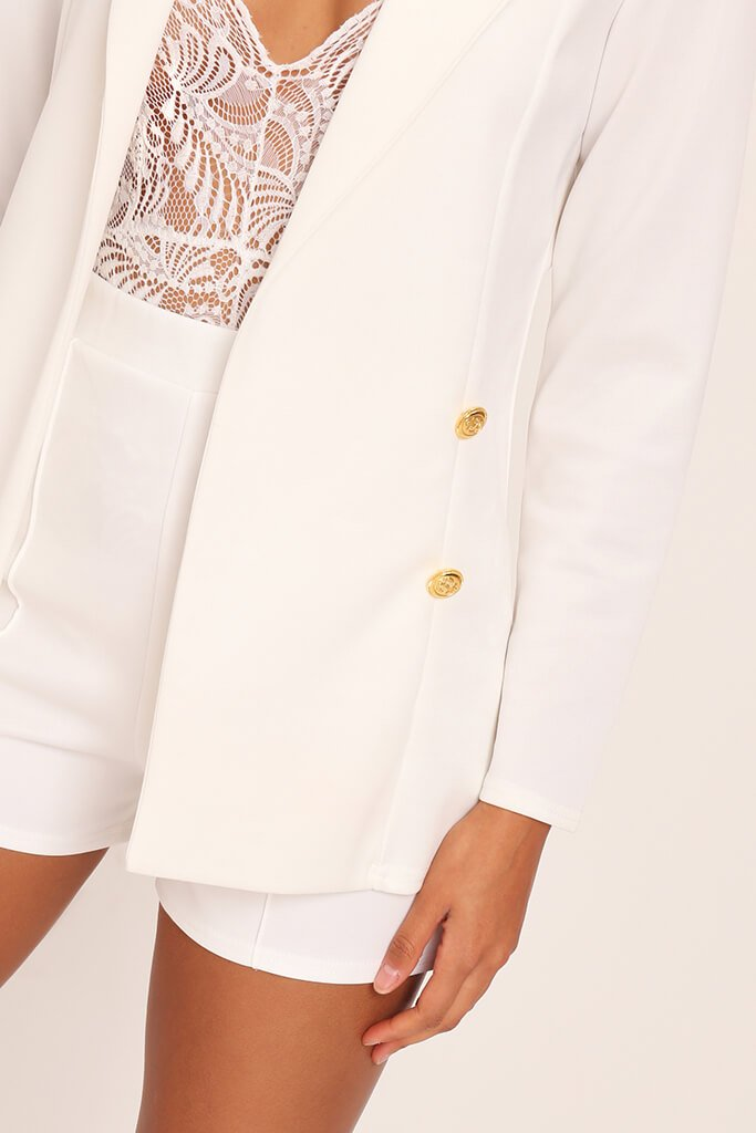 White Double Button Blazer view 4