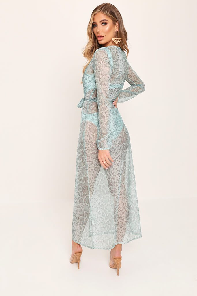 Mint Snake Print Belted Balloon Sleeve Kimono view 5