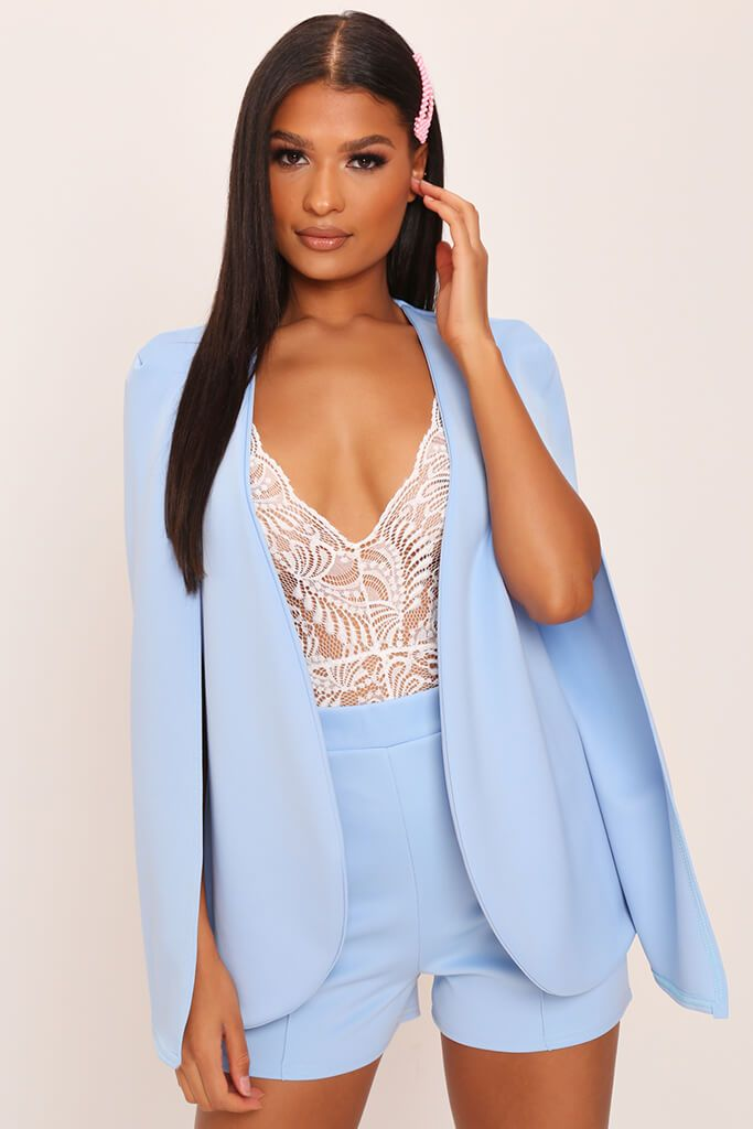 Baby Blue Cape Blazer view main view
