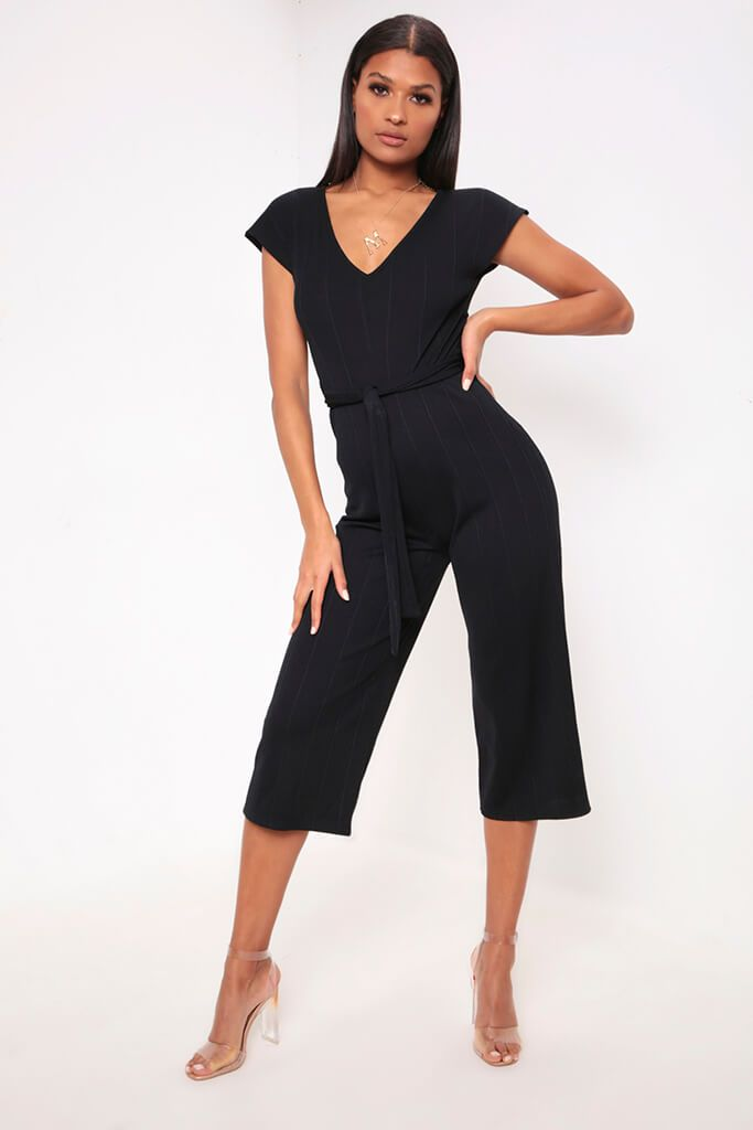 Black Wide Leg Ribbed Jumpsuit view 2