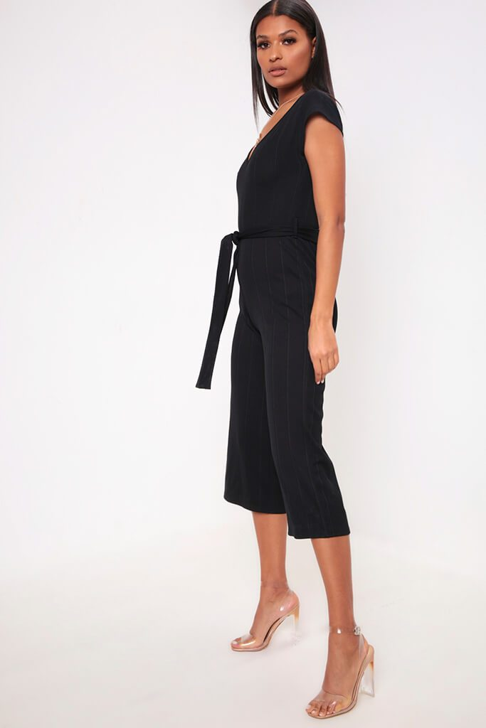 Black Wide Leg Ribbed Jumpsuit view 3