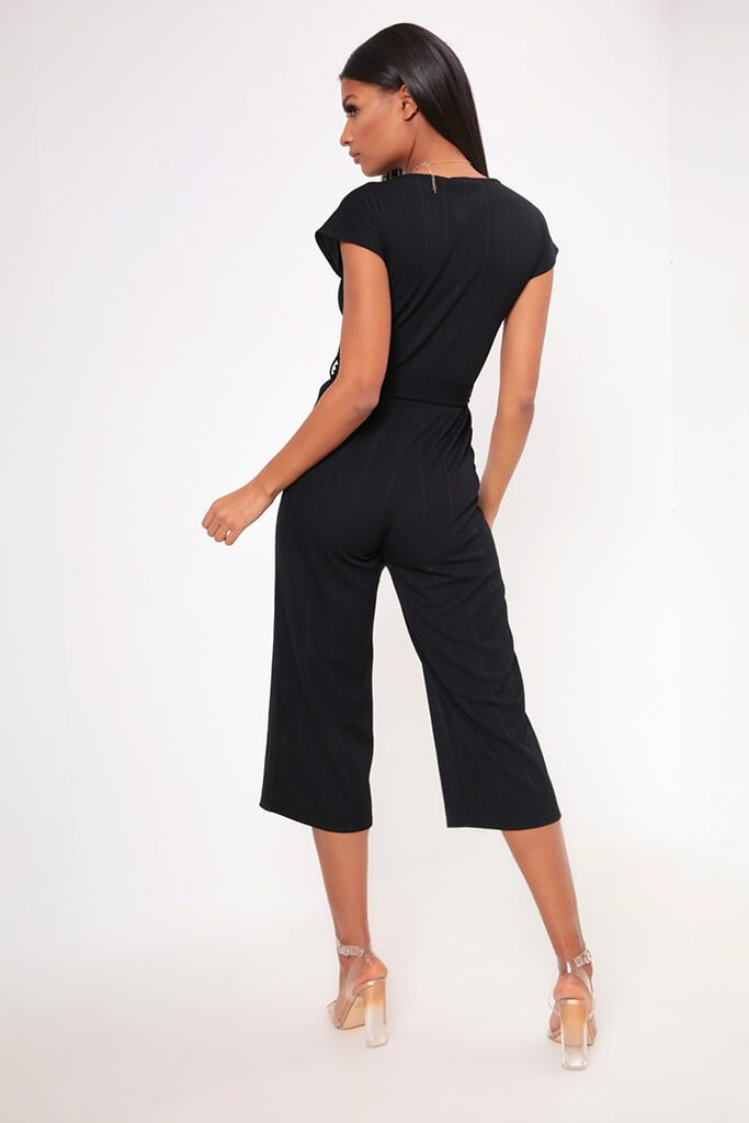 Black Wide Leg Ribbed Jumpsuit view 5